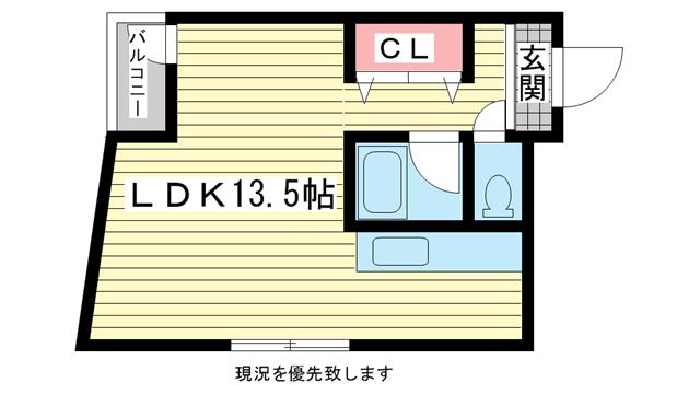物件番号: 1025872882 グランディア 花隈ガーデン  神戸市中央区花隈町 1R マンション 間取り図