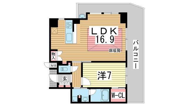 物件番号: 1025872953 ベリスタ神戸旧居留地  神戸市中央区海岸通 1LDK マンション 間取り図