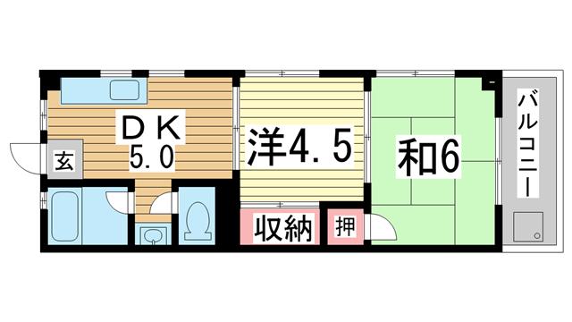 物件番号: 1025873069 酒井マンション  神戸市中央区上筒井通6丁目 2DK マンション 間取り図