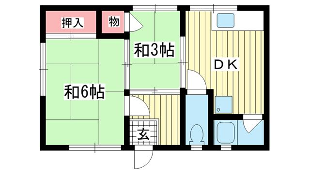 物件番号: 1025873200 永楽ハイツ  神戸市須磨区永楽町3丁目 2DK ハイツ 間取り図