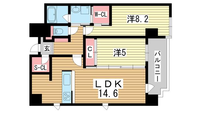 物件番号: 1025873226 ルキシア神戸  神戸市中央区相生町1丁目 2LDK マンション 間取り図
