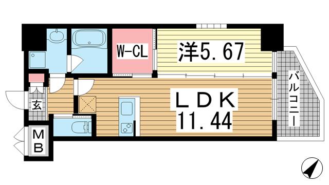 物件番号: 1025873339 プレジオ神戸WEST  神戸市兵庫区三川口町1丁目 1LDK マンション 間取り図