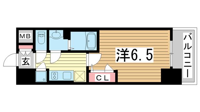 物件番号: 1025873406 エスプレイス神戸ハーバーウエスト  神戸市兵庫区新開地5丁目 1K マンション 間取り図
