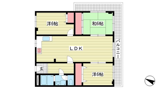 物件番号: 1025873556 ユートピア諏訪山  神戸市中央区山本通4丁目 3LDK マンション 間取り図