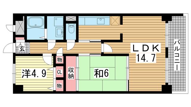 物件番号: 1025873793 新神戸ネクステージ  神戸市中央区生田町3丁目 2LDK マンション 間取り図
