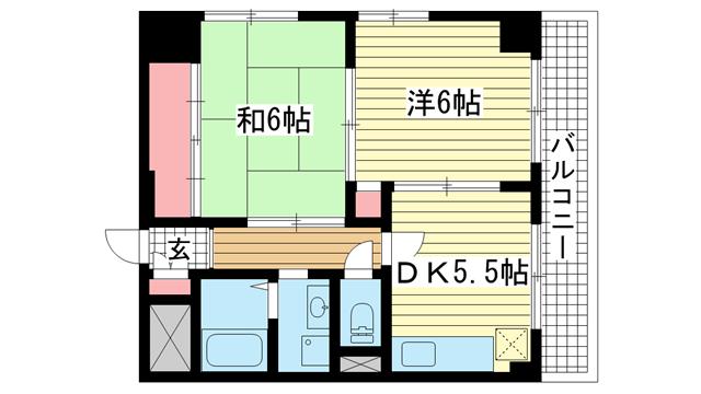 物件番号: 1025873796 シャトゥソフィア  神戸市中央区相生町4丁目 2DK マンション 間取り図
