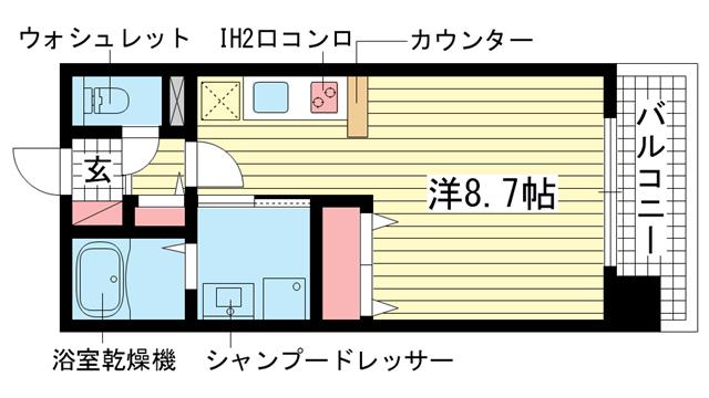 物件番号: 1025873927 モンテマーレ北野  神戸市中央区生田町2丁目 1R マンション 間取り図