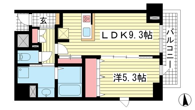 物件番号: 1025874118 JEUNESSE北野  神戸市中央区加納町2丁目 1LDK マンション 間取り図