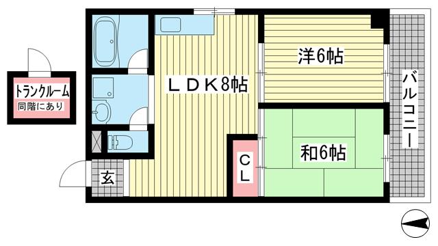 物件番号: 1025874209 タウンハウス熊内  神戸市中央区熊内町4丁目 2LDK マンション 間取り図