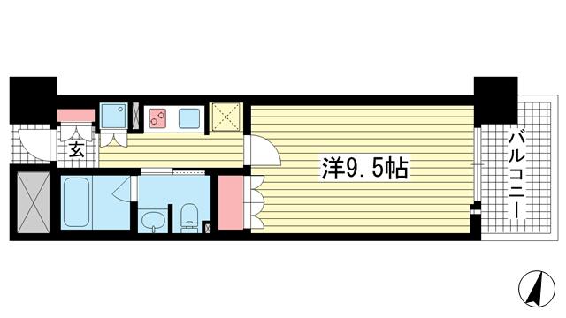 物件番号: 1025874352 リーガル神戸三宮フラワーロード  神戸市中央区八幡通4丁目 1K マンション 間取り図