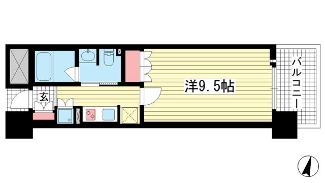 物件番号: 1025874354 リーガル神戸三宮フラワーロード  神戸市中央区八幡通4丁目 1K マンション 間取り図