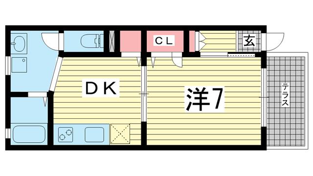 物件番号: 1025874406 アパートメント フクイ  神戸市中央区下山手通7丁目 1DK ハイツ 間取り図