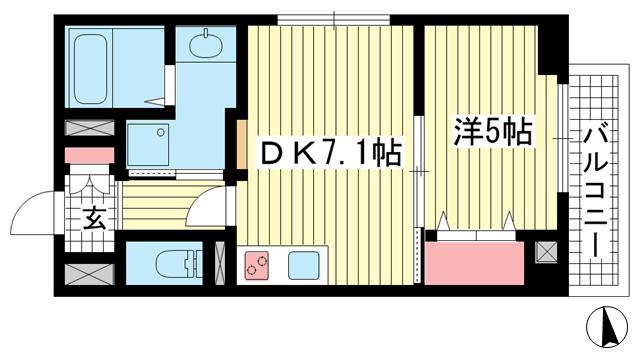 物件番号: 1025874465 JEUNESSE北野  神戸市中央区加納町2丁目 1DK マンション 間取り図