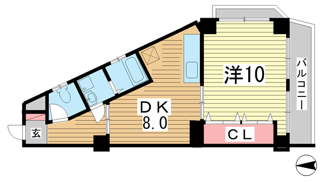 物件番号: 1025874487 シャトー・ド・フェニックス  神戸市中央区二宮町3丁目 1DK マンション 間取り図