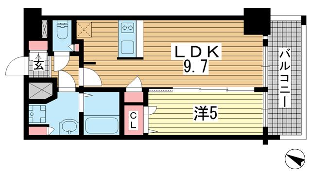 物件番号: 1025874513 プレサンス三宮ポルト  神戸市中央区御幸通2丁目 1LDK マンション 間取り図
