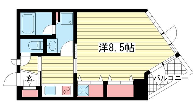 物件番号: 1025874620 アンリーヴ北野  神戸市中央区山本通2丁目 1DK マンション 間取り図