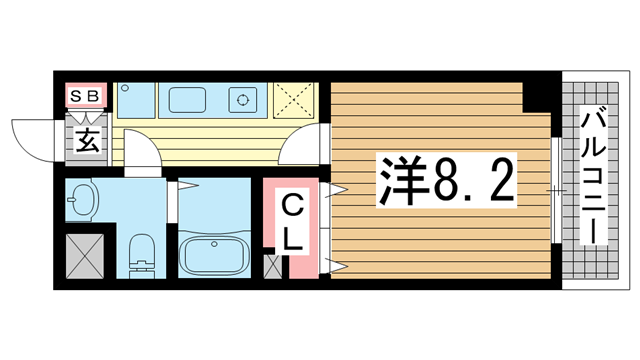 物件番号: 1025874681 カリエンテ三宮  神戸市中央区小野柄通3丁目 1K マンション 間取り図
