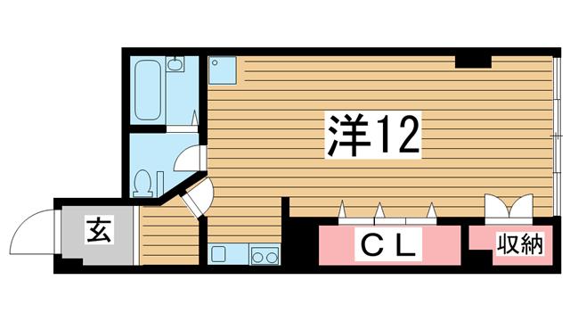 物件番号: 1025874684 ヤマウラ77ビル  神戸市中央区加納町2丁目 1R マンション 間取り図