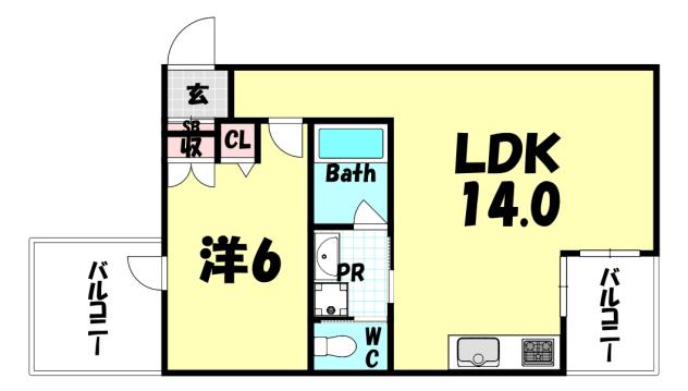 物件番号: 1025874735 光明コーポラス  神戸市中央区元町通4丁目 1LDK マンション 間取り図