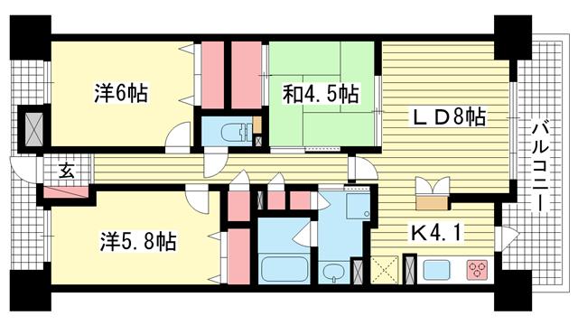 物件番号: 1025874757 ダイアパレス三宮エスタシオ  神戸市中央区吾妻通1丁目 3LDK マンション 間取り図