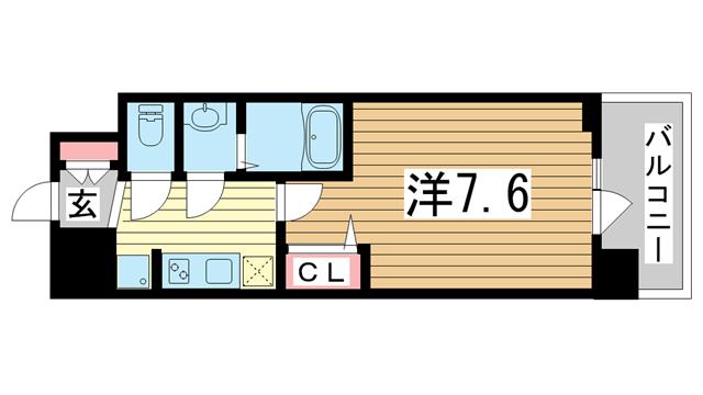 物件番号: 1025874812 アドバンス三宮グルーブ  神戸市中央区東雲通1丁目 1K マンション 間取り図