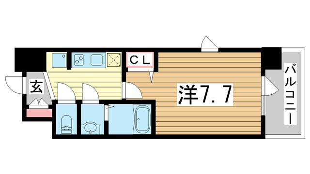 物件番号: 1025874825 アドバンス三宮グルーブ  神戸市中央区東雲通1丁目 1K マンション 間取り図