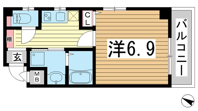 物件番号: 1025874870 レガーロ春日野道  神戸市中央区大日通6丁目 1K マンション 間取り図