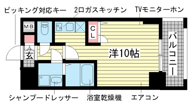 物件番号: 1025874887 スワンズ神戸三宮イースト  神戸市中央区筒井町3丁目 1R マンション 間取り図