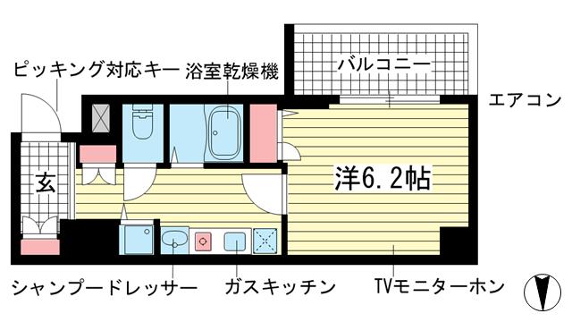 物件番号: 1025874889 スワンズ神戸三宮イースト  神戸市中央区筒井町3丁目 1K マンション 間取り図
