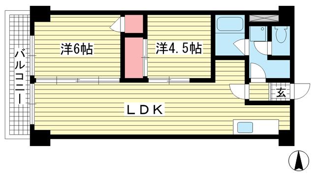 物件番号: 1025874907 グレイスハイツ新神戸  神戸市中央区布引町2丁目 2LDK マンション 間取り図