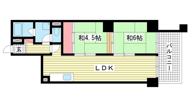 物件番号: 1025874909 昭和パレス野崎  神戸市中央区野崎通3丁目 2LDK マンション 間取り図