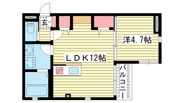 物件番号: 1025874918 ソシオ  神戸市中央区野崎通4丁目 1LDK マンション 間取り図