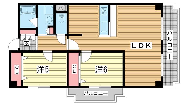物件番号: 1025874956 グランドビスタ北野  神戸市中央区加納町2丁目 3LDK マンション 間取り図