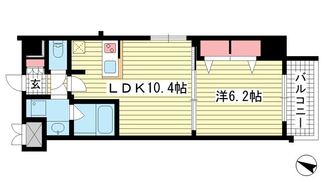 物件番号: 1025875024 アーバネックスみなと元町Ⅱ  神戸市中央区元町通4丁目 1LDK マンション 間取り図