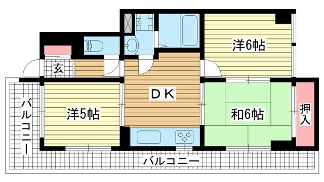 物件番号: 1025875082 セントラルハイツ神戸  神戸市兵庫区西橘通1丁目 3DK マンション 間取り図