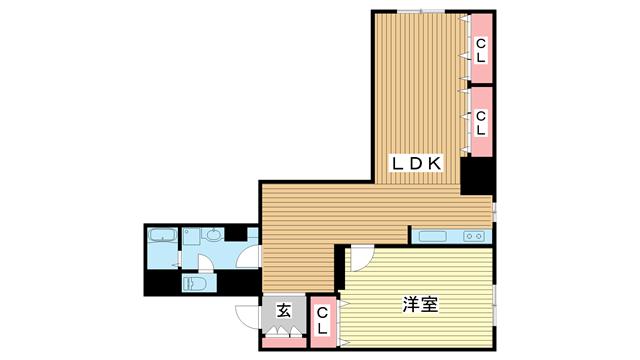 物件番号: 1025875085 北野タウンハウス  神戸市中央区山本通3丁目 1LDK マンション 間取り図