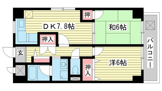 物件番号: 1025875119 潮マンション  神戸市中央区元町通5丁目 2DK マンション 間取り図