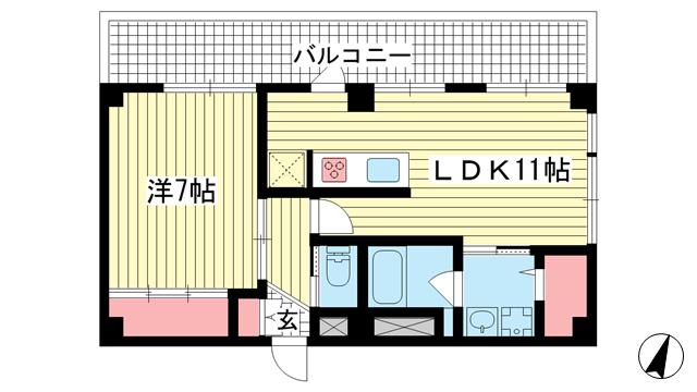 物件番号: 1025875178 多聞コーポラス  神戸市中央区多聞通4丁目 1LDK マンション 間取り図
