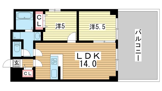 物件番号: 1025875256 Renostyle布引  神戸市中央区布引町2丁目 2LDK マンション 間取り図