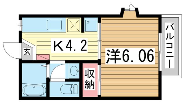 物件番号: 1025875285 メゾン・ド・新神戸  神戸市中央区熊内町5丁目 1K マンション 間取り図