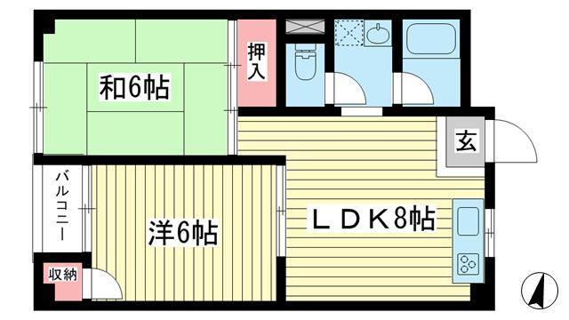 物件番号: 1025875318 山手ビルマンション  神戸市中央区中山手通2丁目 2LDK マンション 間取り図