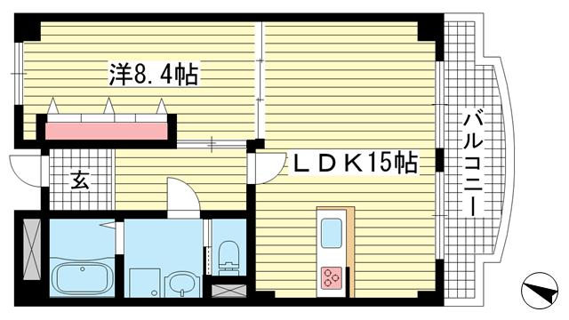物件番号: 1025875325 グリーンハイツ諏訪山  神戸市中央区山本通4丁目 1LDK マンション 間取り図