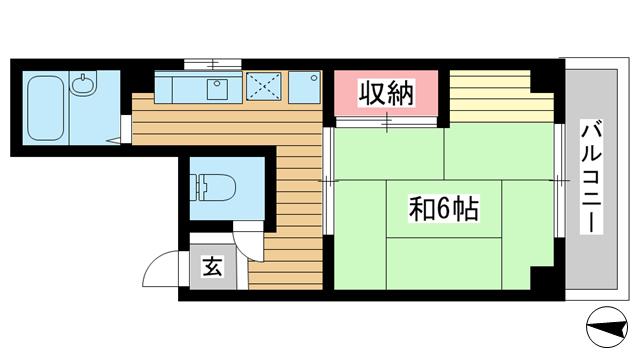 物件番号: 1025875409 マツモトビル  神戸市中央区加納町3丁目 1K マンション 間取り図