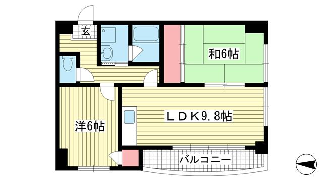 物件番号: 1025875426 アルシェ21  神戸市東灘区田中町3丁目 2LDK マンション 間取り図