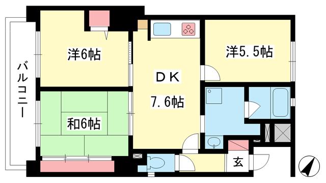 物件番号: 1025875484 コスモ芦屋川西  神戸市東灘区本庄町1丁目 3DK マンション 間取り図