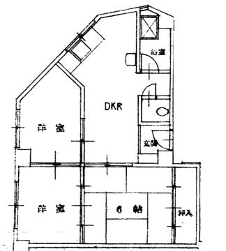 物件番号: 1025875485 中一東ビル  神戸市中央区中山手通1丁目 3DK マンション 間取り図