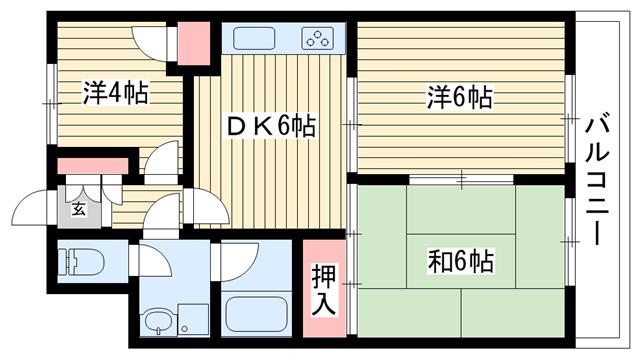 物件番号: 1025875551 ジュエリー山手  神戸市中央区下山手通7丁目 3DK マンション 間取り図
