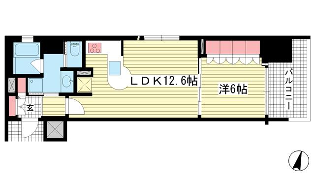 物件番号: 1025875625 リーガル神戸三宮フラワーロード  神戸市中央区八幡通4丁目 1LDK マンション 間取り図