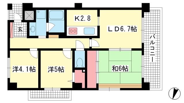 物件番号: 1025875630 岡本パーク・レジデンス  神戸市東灘区岡本2丁目 3LDK マンション 間取り図