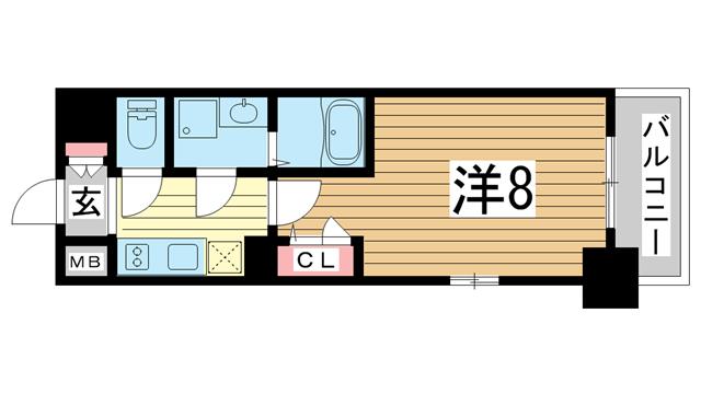 物件番号: 1025875640 エスプレイス神戸ウエストゲート  神戸市兵庫区駅前通4丁目 1K マンション 間取り図